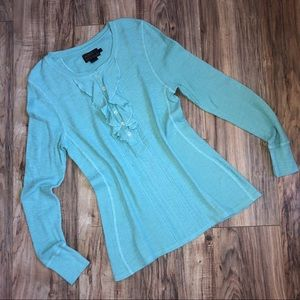 NWOT Pendleton Button & Ruffle Front Thermal Top